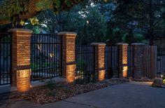 Brick and Iron Fence Designs | 10,819 brick pillar fence Home Design Photos