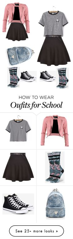 """School"" by sierrak1602 on Polyvore featuring Stance, New Look, Converse, FRACOMINA and WithChic"