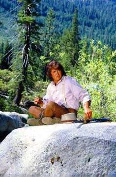 "Michael Landon filming ""The Return of Mr. Edwards."""
