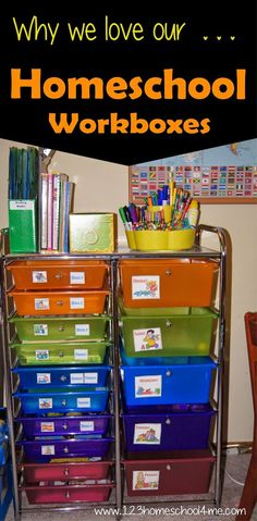 Homeschool Organization! Love these workboxes to keep everything neat, tidy, and ready to use!