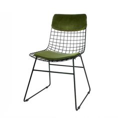 Padded Metal Wire Chair In Black And Green Mirrored Furniture, Funky Furniture, French Furniture, Contemporary Furniture, Wire Dining Chairs, Dining Chair Cushions, Ladder Shelving Unit, Metal Storage Cabinets, Chair Leg Floor Protectors