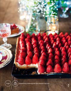 strawberry, mascarpone & almond tray tart | donna hay magazine issue 64 | photography anson smart