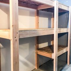 These DIY garage shelves are cheap and easy to make and give you plenty of storage in a small footprint! Get these free garage shelves plans and start building! Garage shelves don't have to cost - July 13 2019 at Corner Storage Shelves, Diy Garage Shelves, Small Shelves, Garage Shelving Plans, Build Shelves, Garage Storage Racks, Hidden Storage, Awesome Woodworking Ideas, Woodworking Plans