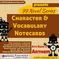 {99 Novel} Series provides support materials to secondary teachers to facilitate superior instruction. Wouldn't it be nice to have notecards already on-hand to provide to INCLUSION students who need them? How about Kinesthetic activities that cross novel borders...things like sorting Character Cards into stacks of Protagonists, Antagonists, Major Characters, Supporting Characters?