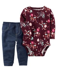 9f03b8c2f Baby Girl 2-Piece Bodysuit Pant Set from Carters.com. Shop clothing &