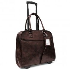 Cabrelli 15 6 Angled Pockets Croco Rolling Laptop Bag Brown