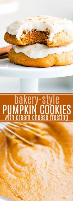 The MOST AMAZING tried and tested BAKERY STYLE soft-baked pumpkin cookies with soft cream cheese frosting. RAVE REVIEWS I chelseasmessyapron.com