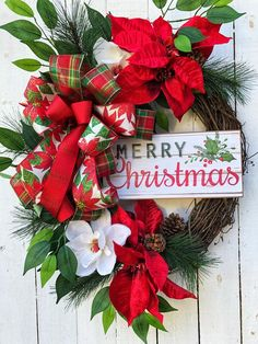Christmas Wreath, Christmas Wreaths, Poinsettia Wreath, Farmhouse Wreath, Christmas Decor, XMAS Door