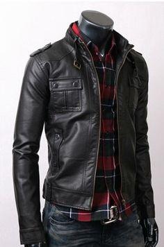 Strap Pocket Slim-fit Black #Mens Fashion #Men Fashion| http://menfashion995.blogspot.com
