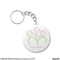 Pink and Yellow Flowers Basic Round Button Keychain