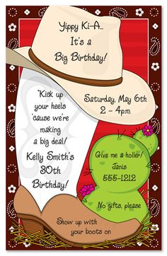 Country Western Birthday Party Invitations