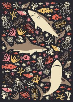 Oceanica pattern art print by Anna Deegan