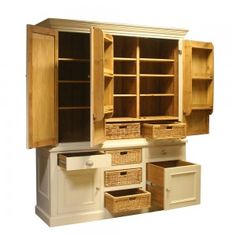 Painted MPC26 Triple Larder Unit Fully Open Painted Daleside Burnt Brass knobs