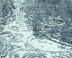 Puddles, original linocut print, hand pulled, 8 x 10 inches, Rain Art And Illustration, Linocut Prints, Art Prints, Block Prints, Water Art, Water Drawing, Guache, Art Graphique, Gravure