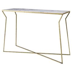 Colbert Modern Classic Bent Gold Marble Console Table   Kathy Kuo Home