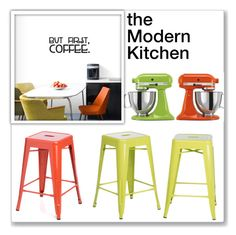 """""""The Modern Kitchen"""" by overstock ❤ liked on Polyvore featuring interior, interiors, interior design, home, home decor, interior decorating, WALL, KitchenAid, I Love Living and kitchen"""