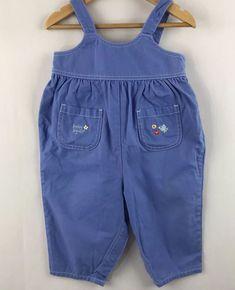9344944745fa Vintage OshKosh Baby B Gosh Blue Overalls Girls Embroidered Bubble Romper 12  mo.