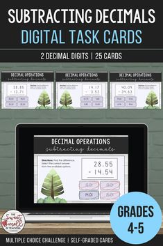 Develop your student's understanding of decimals and place value. These fun digital task cards are great as a digital math center activity or to revise concepts. Students are asked to investigate each question. They will find the difference and select the correct multiple choice answer. #grade5mathactivity #grade4game #mathcenteractivity #subtractdecimals #decimalgame #sweetsmellofteaching #decimaloperations #decimalactivities #subtractdecimalsactivity #placevalueactivity… Multiplication, Fractions, Primary Maths Games, 4th Grade Activities, School Resources, Teaching Resources, Teaching Ideas, Reading Tutoring, Math Challenge