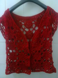 Lace crocheted vest for summer, handmade by me in acrylic yarn. Size M (40-42).  Ready to ship!    Made to order in your color choice and size!