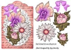 pretty painted rose flowers on lace on a script tag on Craftsuprint - View Now!