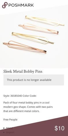 Free People rose gold sleek metal bobby pins New with tags 😊💗 Bundle 3+ for 20% off Free People Accessories Hair Accessories