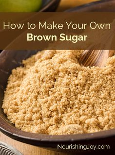 How to Make Your Own Brown Sugar - Nourishing Joy Make your own brown sugar with two simple ingredients! Save money and use wholesome sweeteners for a pantry staple you'll make again and again. Homemade Spices, Homemade Seasonings, Homemade Food, Real Food Recipes, Cooking Recipes, Yummy Food, Cooking Hacks, Meal Recipes, Cakepops