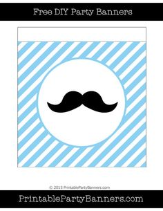 Baby Blue and White Square Diagonal Striped English Mustache