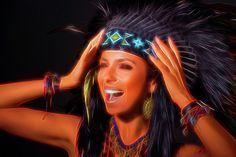 Shout by Elena Riim   Screaming Woman in Costume of American Indian   #ElenaRiimFineArtPhotography #ArtForHome #AmericanIndianArt  #FineArtPrints