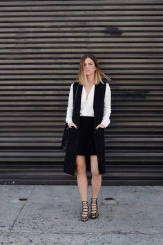 Helmut Lang blouse, French Connection vest, Kenneth Cole suede skirt, Schutz heels, Loeffler Randall bag