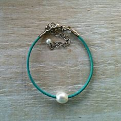 Light Turquoise Leather and Pearl Bracelet Simple by DesignsbyNoa