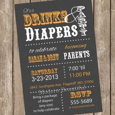 Couples drink and diaper Baby Shower Invitation by ModernBeautiful, $13.00