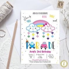 Editable Drive By Clouds Birthday Parade Invitation, Virtual Party Invite,  Car Girl Pink Quarantine, Instant Download Digital, YOU PRINT Party Invitations, Invite, Party Printables, Baby Announcement Cards, 3rd Birthday, Pink Girl, Preschool Graduation, Wedding Car, Clouds