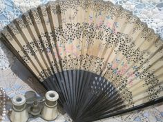 vintage hand fans | Vintage Paper Fan//Art Deco Hand Stenciled Flowers, Butterflies