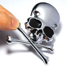 Emblema Adesivo 3D Caveira Crânio de Metal para Carro Caminhão 6b33d8ad4ca