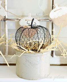 Neutral farmhouse fall mantel with chicken wire pumpkins and vintage crocks by… Chicken Wire Art, Chicken Wire Crafts, Pumpkin Crafts, Fall Crafts, Diy Crafts, Fall Halloween, Halloween Crafts, Farm House Colors, Burlap Flowers