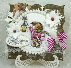 Festive Lantern by Gretha Bakker - Cards and Paper Crafts at Splitcoaststampers Note the pompoms. Handmade Christmas, Christmas Crafts, Christmas Ideas, Magnolia, Paper Art, Paper Crafts, Lily Of The Valley, Copics, Winter Christmas