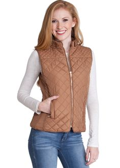 Quilted Padded Zipper Vest J153CM, clothing, clothes, womens clothing, jeans, tops, womens dress