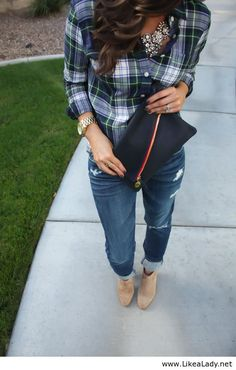 Sparkles, plaid, boyfriend jeans & booties Northeast Girl blog
