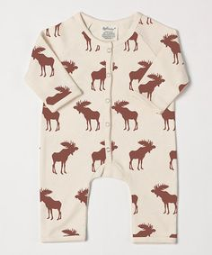 White & Brown Moose Organic Playsuit
