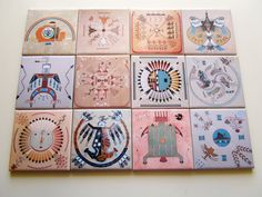 #navajo inspired by coasters Set -  https://www.etsy.com/it/listing/239033639/set-of-4-navajo-sandpainting-drink