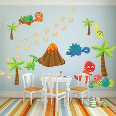 Boy's Nursery Dinosaur And Egg Funny Wall Stickers Kids Wall Art PVC Removable Wallpaper Living Room Bedroom Decals Home Decor Wall Stickers Cartoon, Diy Wall Stickers, Dinosaur Wall Stickers, Rooms Home Decor, Room Decor, Baby Room Wall Decals, Art Wall Kids, Wall Art, Wall Wallpaper