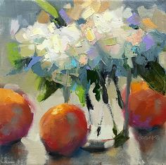 Hydrangeas & Oranges by Trisha Adams Oil ~ 8 x 8 Easy Canvas Painting, Fruit Painting, Oil Painting Flowers, Abstract Flowers, Flower Paintings, Selling Paintings, Paintings I Love, Small Paintings, Canvas Paintings