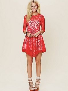 Free People Floral Mesh Lace Dress at Free People Clothing Boutique