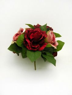Artificial Rose Bouquet Burgundy And Pink