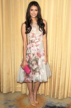 """Nina Dobrev in Monique Lhuillier dress, H. Stern jewels and a Rebecca Minkoff bag at Forevermark and InStyle's """"A Promise Of Beauty And Brilliance"""" Golden Globe Awards event in Beverly Hills Jan 2012"""