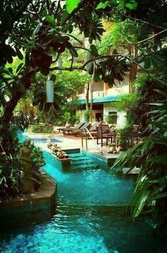 The Lazy river by house.