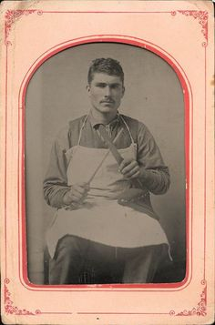 tintype portrait of a butcher sharpening his knife