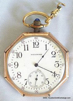 Octagon shaped Vintage Pocketwatch with a blue sapphire inlay crown. Octagon shaped Vintage Pocketwatch with a blue sapphire inlay crown. Old Pocket Watches, Old Watches, Pocket Watch Antique, Antique Watches, Vintage Watches, Watches For Men, Wrist Watches, Used Rolex, Men's Jewelry Rings