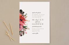 """Peeking Florals"" - Wedding Invitations in Fuchsia by Lori Wemple."