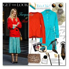 """Get the Look - Turquoise & Red"" by watereverysunday ❤ liked on Polyvore featuring Universal Lighting and Decor, Michael Kors, MM6 Maison Margiela, Aquazzura, Byredo, Yves Saint Laurent, L'Oréal Paris, River Island and Marni"